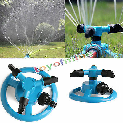 360° Lawn Circle Rotating Water Sprinkler 3 Nozzle Garden Pipe Hose Irrigation