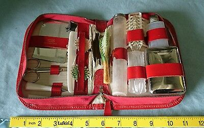 Vintage West German Red Leather Case Manicure Set.