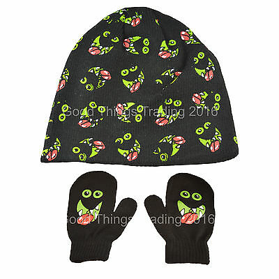 Winter Baby Hat & Mittens Set Boys Girls Glow In The Dark Monster 6-23 Months