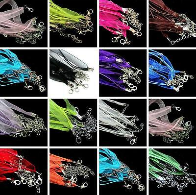 """10X Organza Ribbon Cotton Wax Cord Necklaces Lobster Clasps Jewelry Making 18"""""""