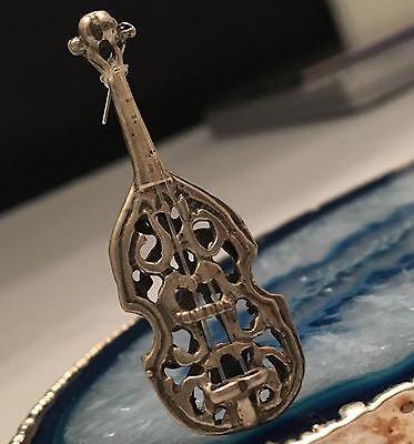 BEAUTIFUL Solid Sterling Silver Miniature VIOLIN on Stand Hallmarked -L253