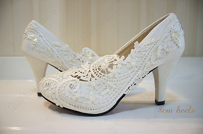 Wedding Pearl Lace Evening Prom Party Bridal Bridesmaid Flat High Low Heel shoes