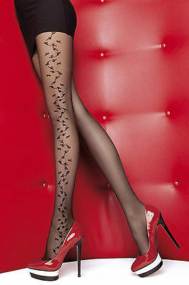 Fiore Jenna Side Patterned 20 Denier Pantyhose Tights  3 Sizes