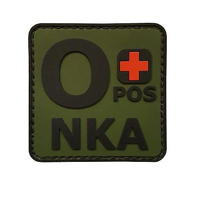 o+ OPOS NKA PVC rubber olive drab green blood type tactical morale hook patch