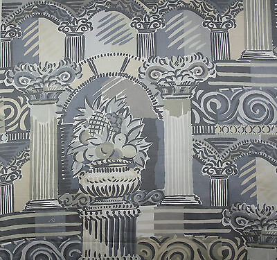 vintage 1980s Munro & Tutty Casablanca neoclassical print cotton sateen fabric