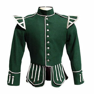 """Brand New Military Piper Drummer Doublet Tunic Green Jacket 100% Wool (30-60)"""""""