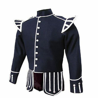 """Brand New Military Piper Drummer Doublet Tunic Blue Jacket 100% Wool (30 To 60)"""""""