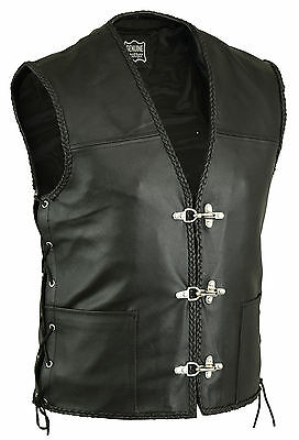 New Mens Real Leather Biker Waistcoat/vest Fish Hook Buckle-Sides Laces Uk Stock