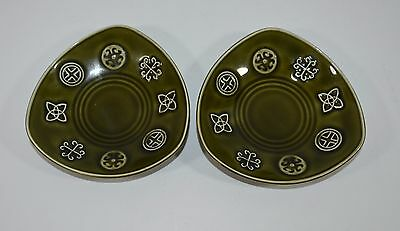 Vintage Lord Nelson Pottery Green Celtic Runes Triangle Plates Retro 60s England