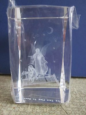 "3-D Laser Etched  ""Angel Guarding Children"" Glass Cube Collectible"