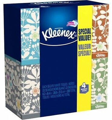 Kleenex Everyday Facial Tissues, 55 Tissues Per Cube Box, Pack Of 4