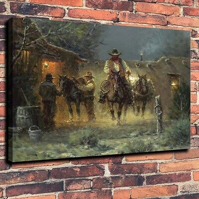 Art Quality Canvas Print, Oil Painting Western, Cowboy, Path home decor 16x20