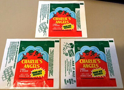 Charlie's Angels S4 - 3x Card Wax Wrappers - 1977 TOPPS - NO RIPS TEARS