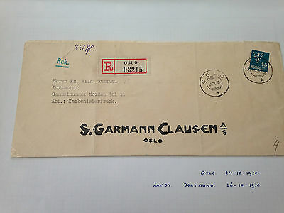 Norway 24.10.1930 letter from Oslo registered to Dortmund early cover