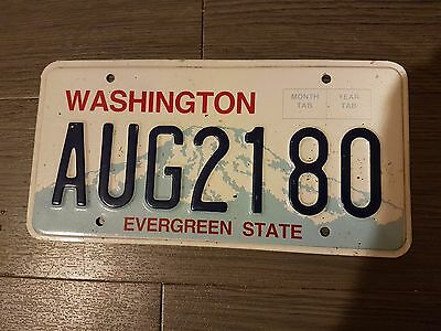 Plaque d immatriculation Washington AUG-2180 USA US License Plate