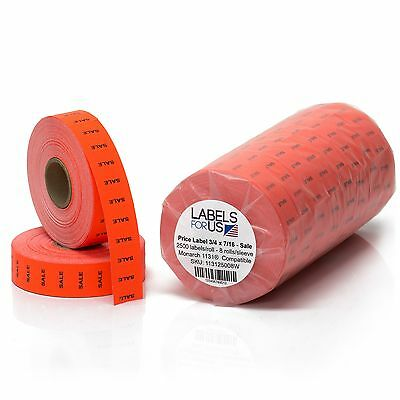 Monarch 1131 Labels - Price Labels - Sale - Fluorescent Red - Pack with 8 rolls