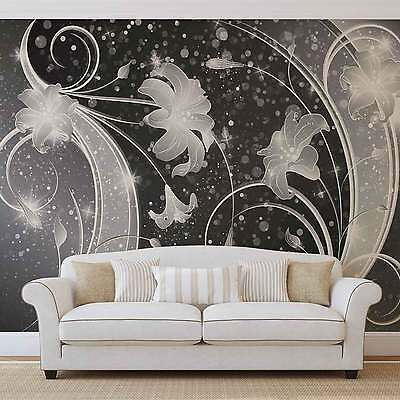 Floral Abstract Silver Grey Black WALL MURAL PHOTO WALLPAPER (2343DK)