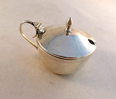 English Sterling Mustard Pot-W/ Black Plastic Built in Liner
