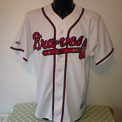 Vintage ATLANTA BRAVES White Blank Home Authentic Jersey by Majestic ATL RARE XL