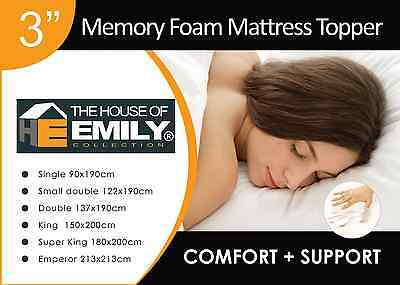 "3"" Memory Foam Mattress Topper with Cover 50kg/m3 Density"