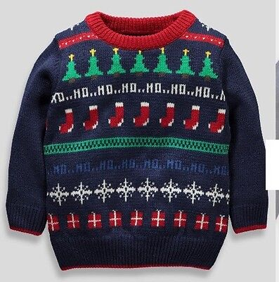 Boys Christmas Jumper Knitted Sweater Ho Ho Ho 6-9 Months NEW BNWT *FREE POST*