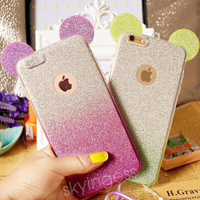 3D Minnie Mickey Mouse Ears silicone Glitter Gradient Case for iPhone 6 6Plus