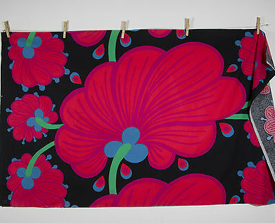 vintage 1960s abstract floral Pop Art print cotton interiors fabric piece
