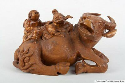 China 20. Jh. Holzfigur - A Chinese Wood Carving Ox & Immortals - Cinese Chinois