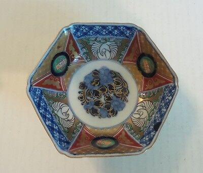 19th C. ANTIQUE JAPANESE IMARI SMALL HEXAGONAL BOWL, MEIJI PERIOD,  c. 1868-1913