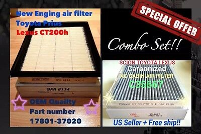 Combo set Engine & CARBONIZED Cabin Air Filter PRIUS CT200H NX300H 17801-37020