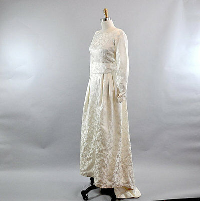Vintage 1960s Long Sleeve Brocade White Rose Wedding Dress. High Low Infinity We