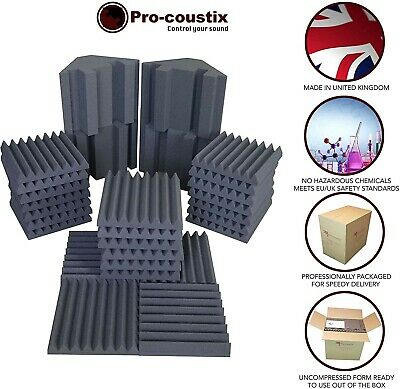 Pro-coustix Ultraflex Studio pack One - 24x Acoustic foam Tiles & 4x Bass Traps