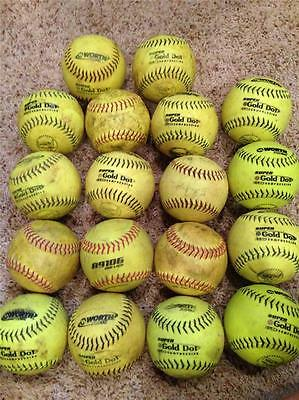 """Lot Of 18 yellow 12"""" practice softballs various brands in very good condition!"""