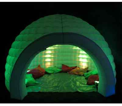 Custom inflatable igloo tent with color changing LEDs