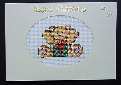 "Cross Stitch Card- ""Happy Christmas""- (Completed card)"
