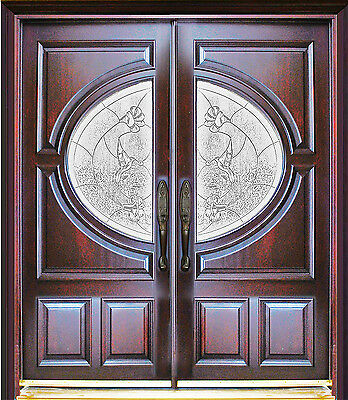 """Mahogany Double Exterior Front Entry Wood Door 580A 30""""X80""""X2 Rigt Hand Swing In"""