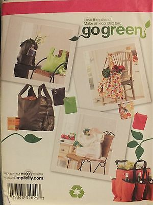 OOP SIMPLICITY 2806 Go Green! 5 Shopping Bags~Wine Tote & Coin Purse PATTERN UC