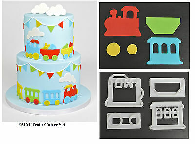 FMM Train Cutter Set Fondant Icing Cutting Tool For Cake Decoration 4 Pieces