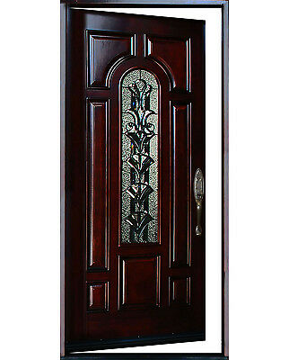 "Exterior Front Entry Single House Wood Door M280A 36""X80 Left Hand Swing In"
