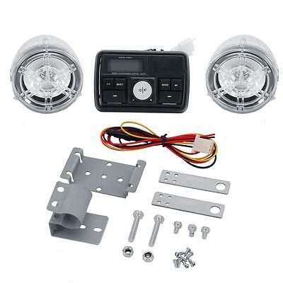 "Bluetooth Motorcycle Audio Kit 12V 2x20W 3"" Clear Shell Multi-color LED Speakers"