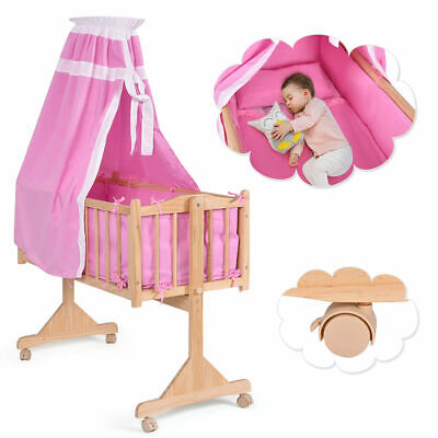Wood Baby Cradle Rocking Crib Newborn Bassinet Bed Sleeper Portable Nursery Pink
