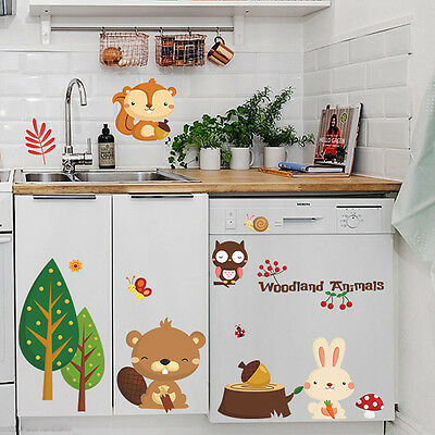 Removable Woodland Animals Vinyl Cute Wall Stickers DIY Kids Room Nursery