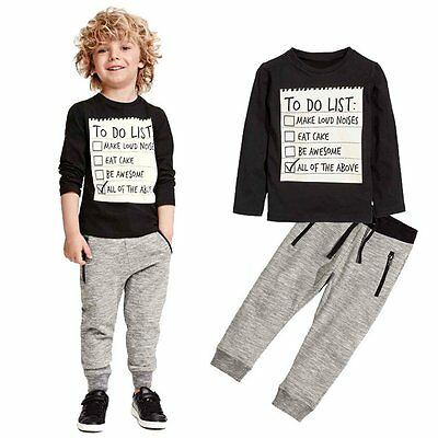 Toddler Kids Baby Boys Casual Long Sleeve T-shirt Tops+Pants Outfits Clothes Set