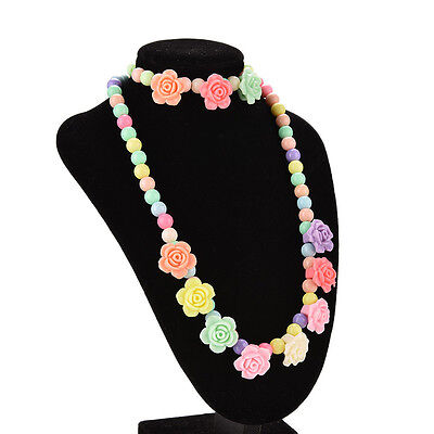 Princess Necklace Bracelet Set for Baby Party Jewelry Girls Gift Rose Pattern