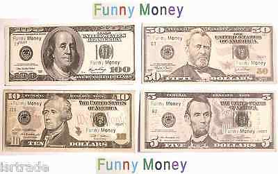 Set US Fake Dollar Game Play Bill Funny Card 5$,10$,50$,100$ NOT REAL MONEY !!!