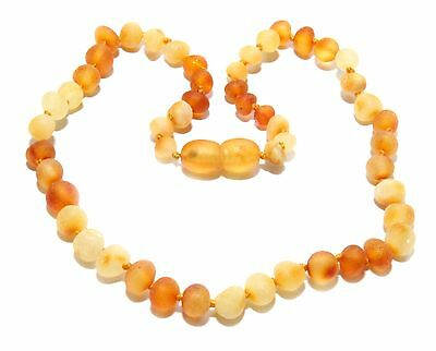 Genuine Raw Baltic Amber Beads Baby Necklace Honey Butter 12.2 - 12.6 in