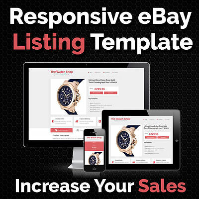 eBay Listing Template Auction HTML Responsive Mobile Shop Design Templates