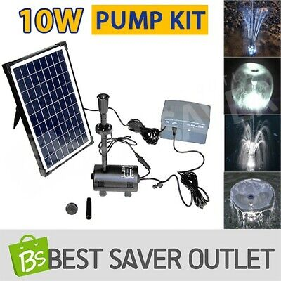 10W Solar Power Pool Fountain Water Feature Submersible Pump Kit Timer LED Light