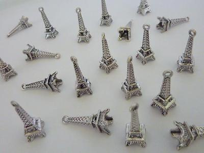 20 pce Metal Antique Silver Eiffel Tower Charm Pendants 24mm