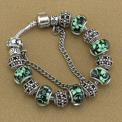 Vintage Antique Silver Plated Hollow out Flower Metal Glass Beads Bracelet-18 cm